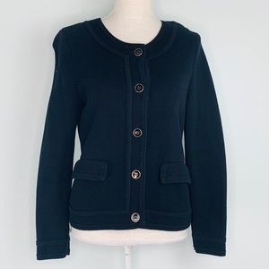 Talbots Black Button Down Knit Jacket Sz MP